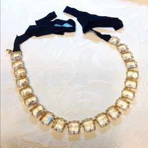 J.Crew Linked Necklace Clear Faceted Stones